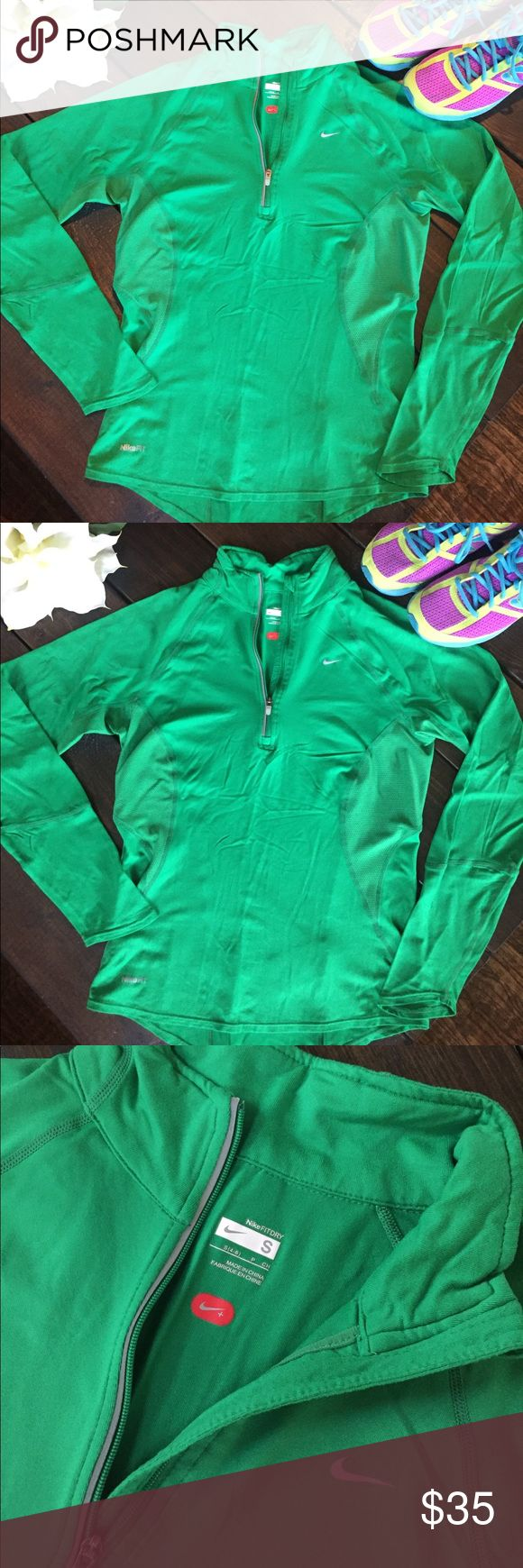 Kelly Green Nike Fit Dry Running Jacket Beautiful Kelly green Nike Running Jacket. Quarter zip light jacket with dri fit moisture wicking fabric. Mesh lining on sides and under arms for ventilation. Form fitting with reflective strips for safety. Reposhin