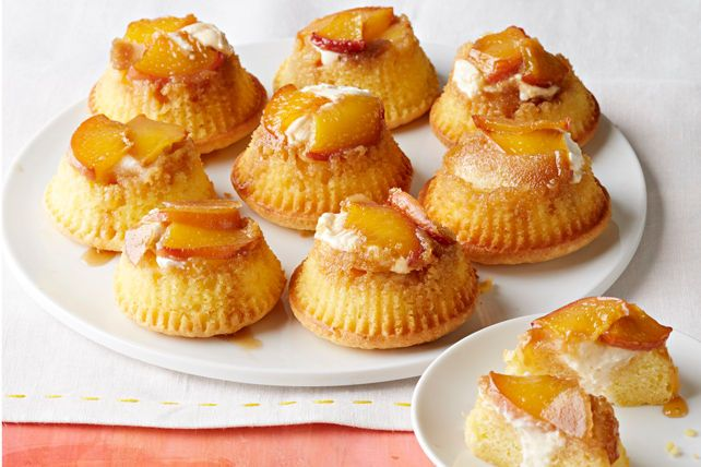 Single-serve desserts are perfect for entertaining.  This recipe for Peaches & Cream Mini Upside-Down Cakes yields 24 delectable desserts - enough to feed a crowd.