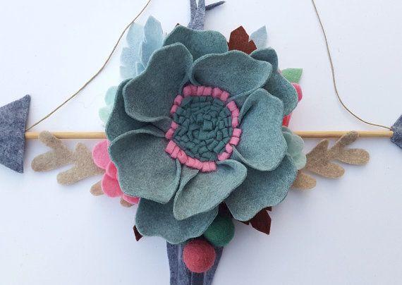 Felt flower arrow, floral arrow mobile, boho arrow wall hanging, arrow wall art, tribal flower nursery, floral nursery decor, seafoam hanger