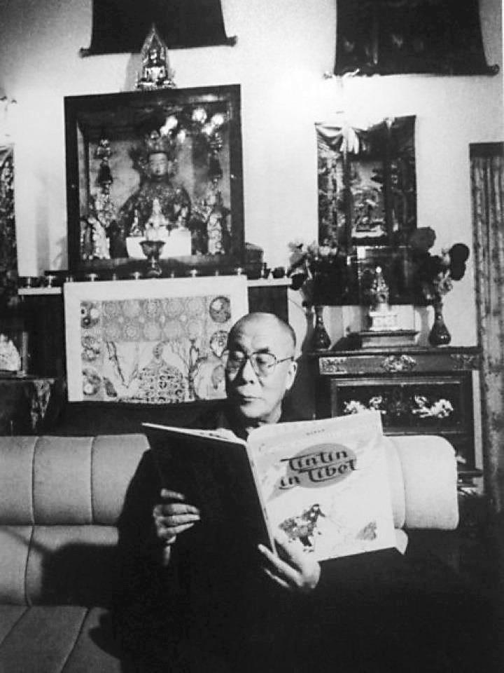 Dalai Lama and Tintin In Tibet.