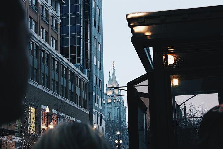 Downtown Salt Lake City, Utah. Salt Lake City Temple. LDS Temple Utah. Cityscape.