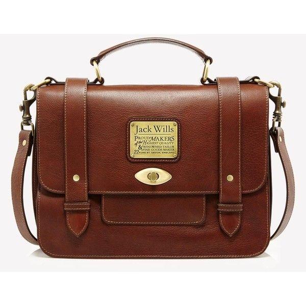 Jack Wills Penbury Satchel ($249) ❤ liked on Polyvore featuring bags, handbags, purses, accessories, bolsas, brown, mid brown, brown purse, leather handbags and satchel handbags