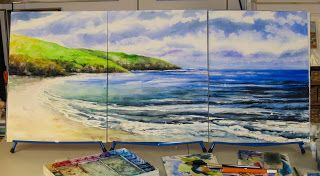 Step-by-step tutorial, how to paint a triptych in watercolor! Photos help to outline the steps showing how to use watercolors to paint a gorgeous beach scene in a classic triptych format!