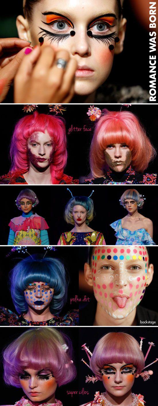 Romance was borns, maquiagem, make-up, fantasia, borboleta, MBFWA, Glitter, cílios, polka dot, bolinhas, lábios de papel, desfile, passarela