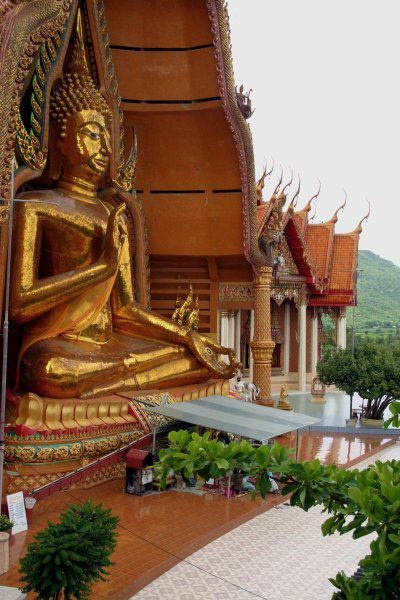 This is the largest gold Buddha made of gold mosaic that sits on the top of the hill on the side of Wat Tham Sua