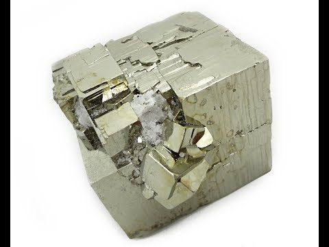 Cubo Pirita en Cubo Grande y cuarzo incrustado - Cube Pyrite in Large Cube - YouTube
