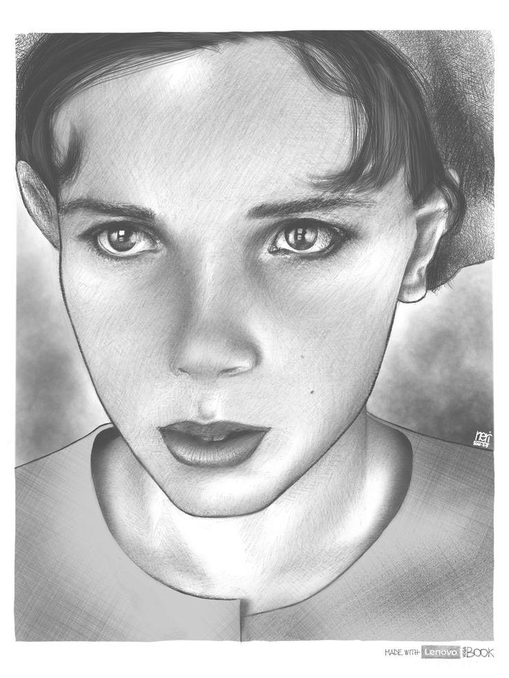 I tried to draw a wonderful photo of @milliebobby_brown. #digital #digitalart Made with #Lenovo #YogaBook