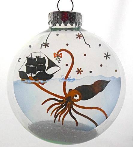 Glass Mr. Squid Holiday Ornament by Glak Love