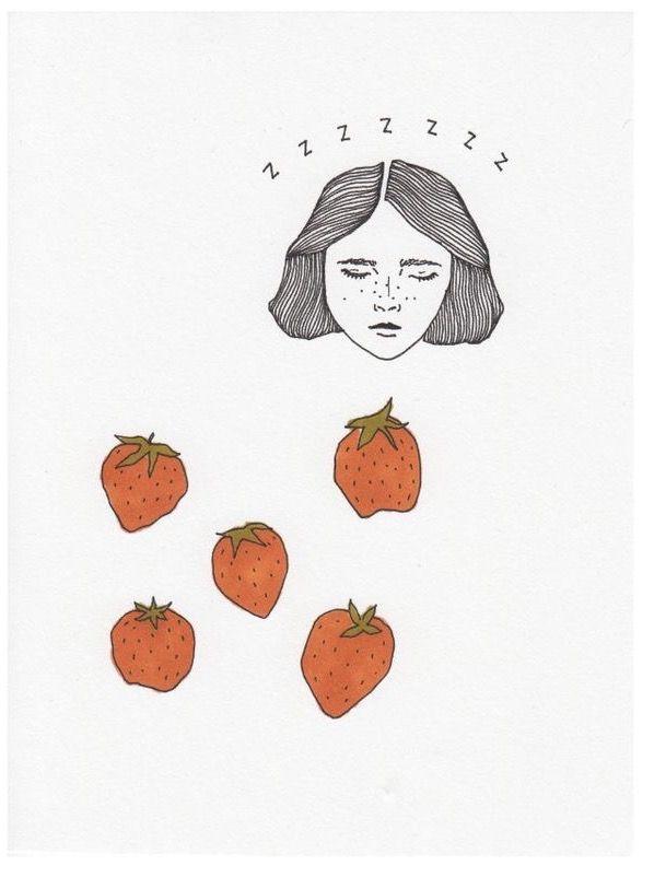 Sleepy Girl & Strawberries by Mali