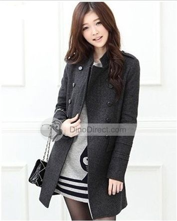 Aorier™ Women Stand Collar Double Breasted Trench Thigh Length Wool Overcoat