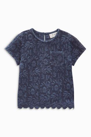 Купить Темно-синяя кружевная блузка (3 мес.-6 лет) - Покупайте прямо сейчас на сайте Next: Россия