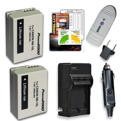 Canon SX40 POWER KIT PowerShot SX40 HS, NB-10L (Includes 2-1200mAh batteries, pocket charger, card reader, screen protector kit) for the Canon SX40 SX40HS, Canon PowerShot G1 X $19.75