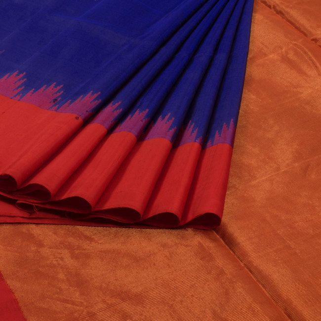 Venkie Reddy Midnight Blue Handwoven Gadwal Kuttu Silk Saree with Temple Border 10006703 - AVISHYA.COM
