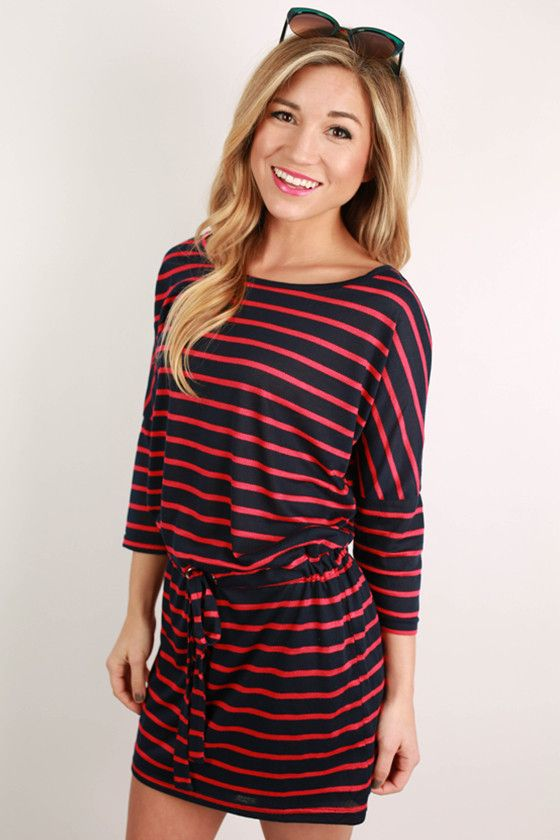 This fabulous striped dress is just perfect for spending a day at the beach!