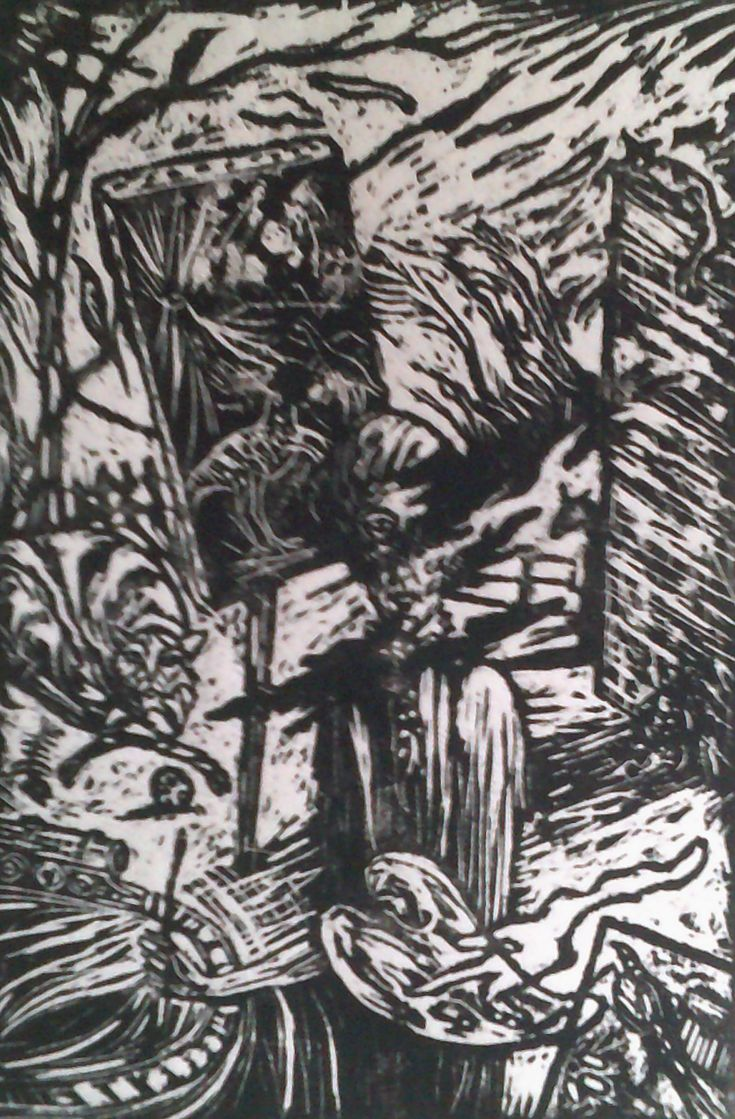 THE ANIMAL PAINTER.  WOODCUT.