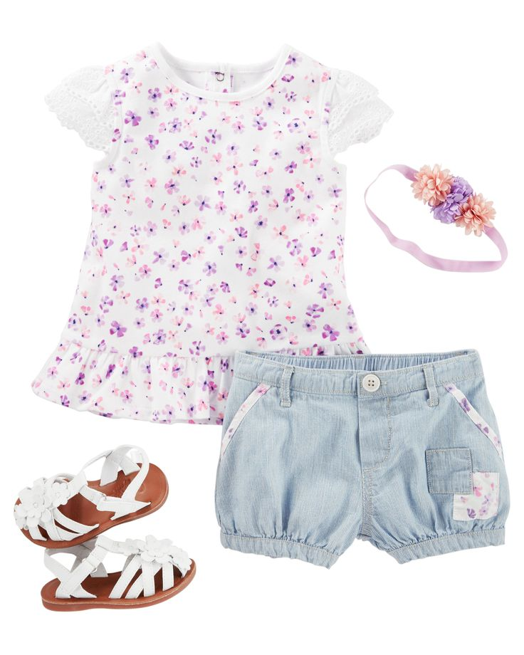 Springtime style gets even sweeter with tiered eyelet sleeves and a pretty peplum hem. Hickory stripes, tiny patches and floral pops make these bubble shorts a new favorite for her picnic play dates.