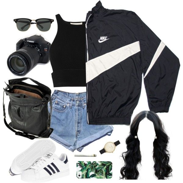 Explore the City by demirese on Polyvore featuring Jonathan Simkhai, Levi's, adidas, Jérôme Dreyfuss, Olivia Burton, Auriya, Milly, Ray-Ban, NIKE and Eos