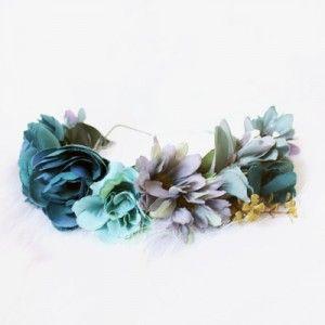 bohemian womens dusty blue floral crown