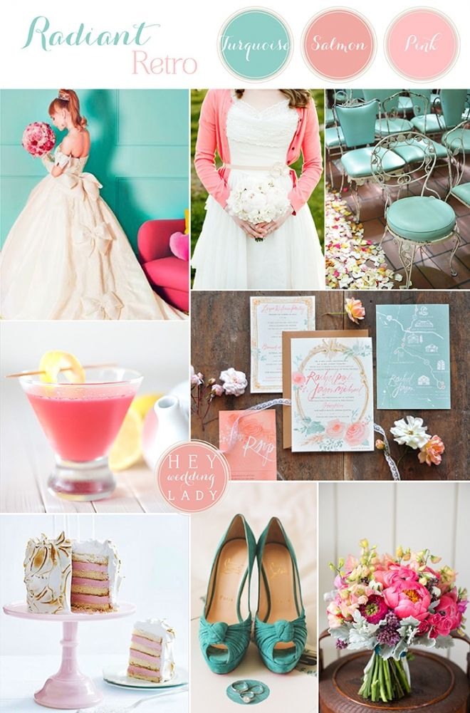Radiant Retro Wedding Inspiration in Turquoise and Pink