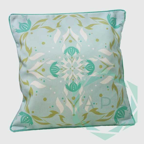 nspired by the lotus flower, the design is characterised by a geometric print while a self-piped edge adds a neat finishing touch.  Lotus2blue cushion comes in 2 sizes:  45x45= Rp. 350,000 60x60= Rp. 450,000  For inquiries email us apaproductionhouse@gmail.com