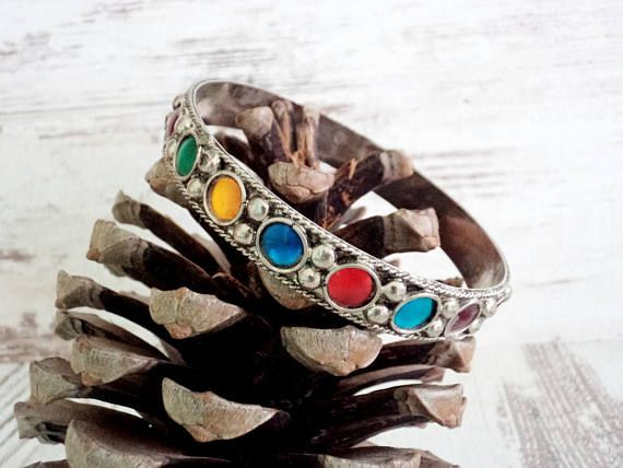 Vintage Bracelet Silver colored Bracelet with Multicolored Stones Old Jewelry Vintage Jewelry for Her Boho Hippie Style Bracelet