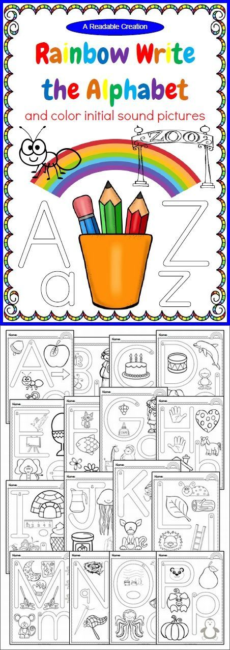 Rainbow Write the Alphabet & Color Initial Sound Pictures