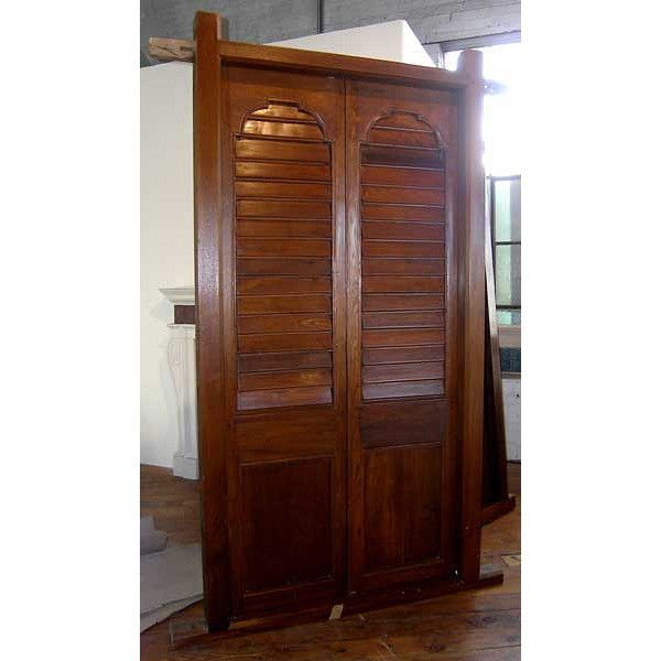 Large Antiqueplantation Solid Teak Louvered Double Door