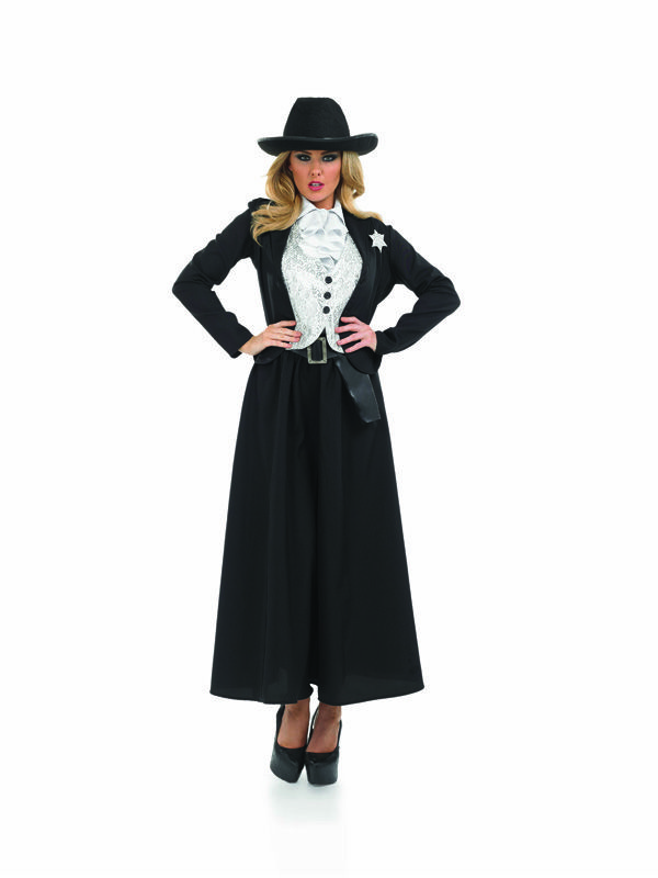 """Adult 28-30 OLD Time Wild West Sheriff Party Fancy Dress Costume Cowgirl Womens 