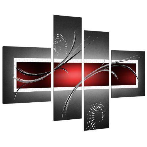 Impression sur Toile - Abstrait Rouge, Noir et Gris - 4 Parties - Wallfillers Canvas 4091: Amazon.fr: Cuisine & Maison