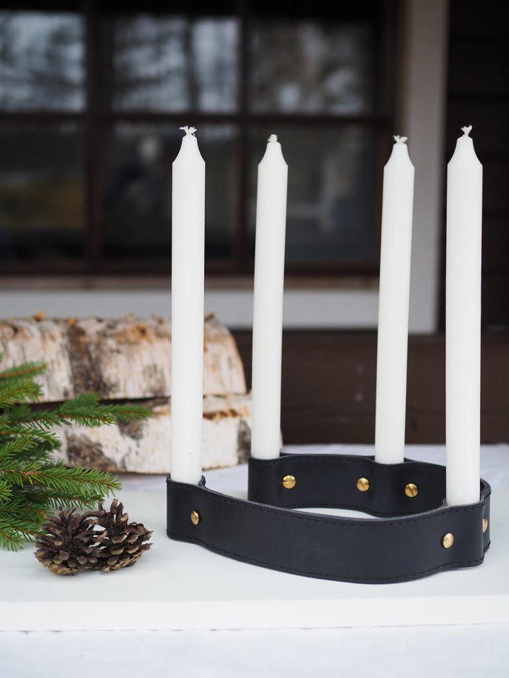 DIY Leather Belt Candle Holder. / Kynttilänjalka nahkavyöstä