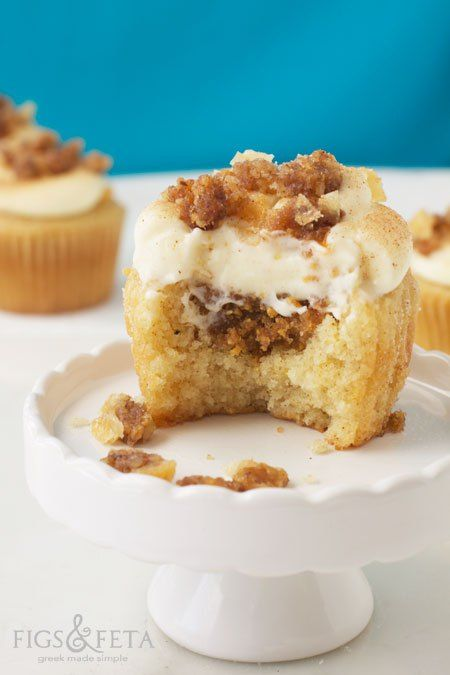 Baklava Cupcakes with Honey Walnut Filling and Cinnamon Sugar Cream Cheese Frosting