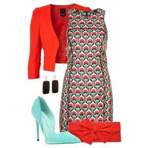 Голубые туфли, коричневое платье с красным узором, ярко-красный пиджак, красный клатч, стильные украшения
