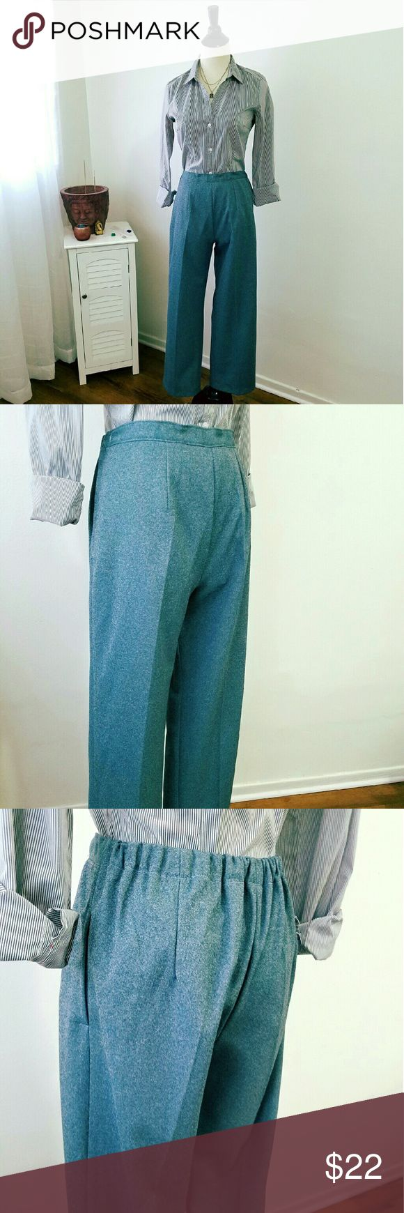 "Vintage Capri Trousers Vintage grey blue trousers.  They are a short capri style and has one pocket on the left side.  Great condition, no tags or sizes. Fits like a woman's size 2/4  25"" waist 27"" inseam. Waistband has stretch, can extended up to 4"". Vintage Pants Capris"