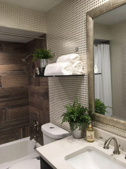 Janice Kaplan, United States,  I totally love how the wallpaper turned out blending in with the stone tile in my guest bathroom. I couldn't be more happier!!