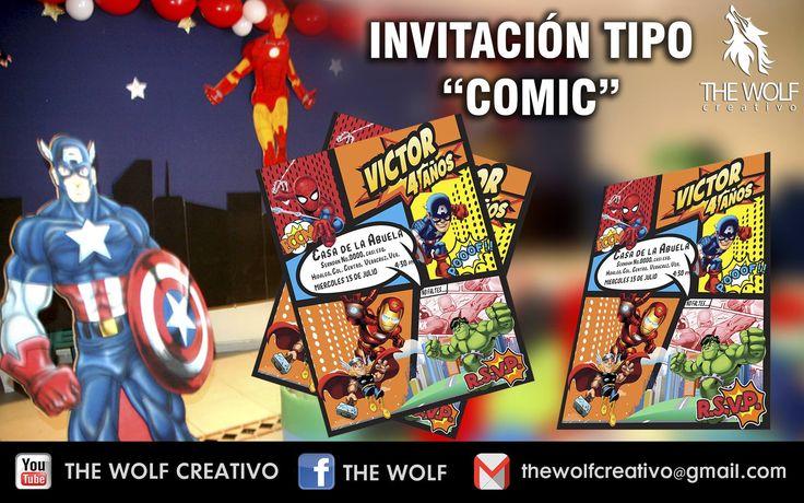 Diseño y elaboración de invitaciones tipo comic 1/4 de carta impresas en cartulina sulfatada digitalmente (entrega a domicilio en Veracruz*Boca del río