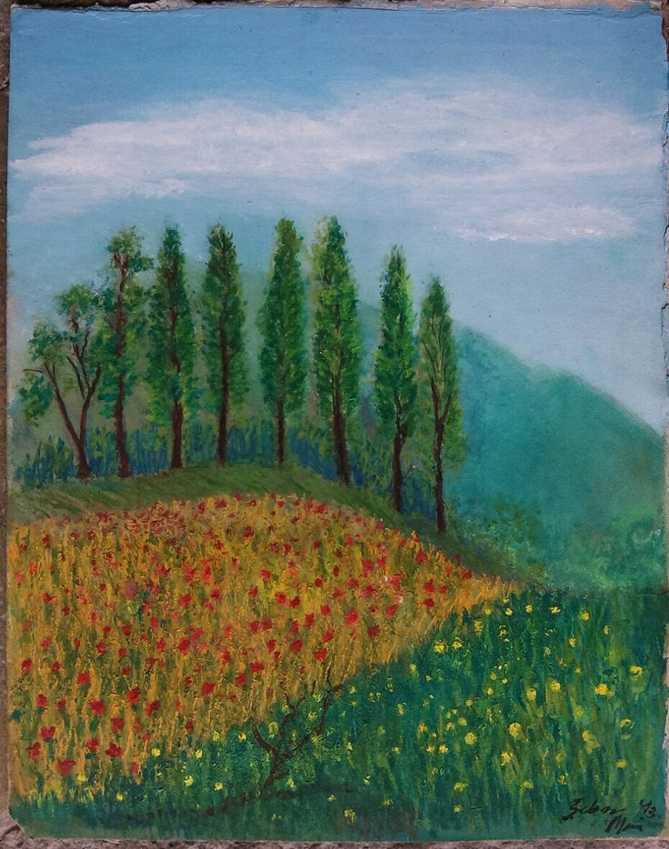 Painting in tempera colors