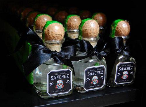 Day of the Dead wedding favor mini patron bottles