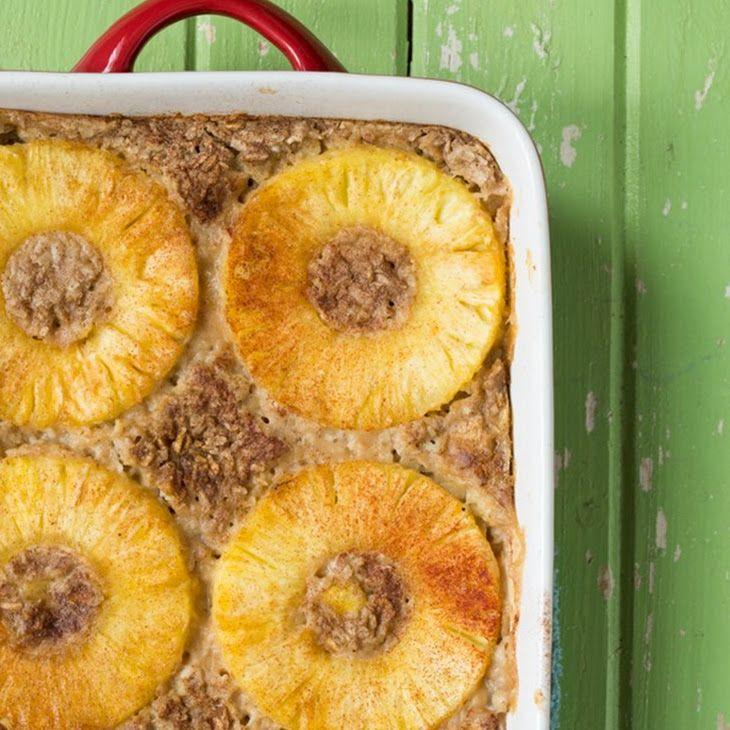 Tropical Pineapple Boozy Baked Oatmeal Recipe
