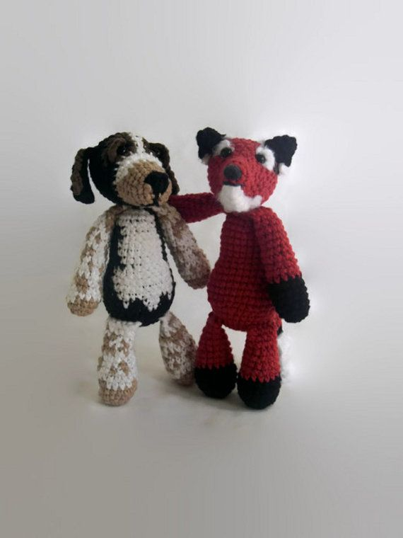 fox and a hound crochet plush OOAK rag doll by AWickedStitchery