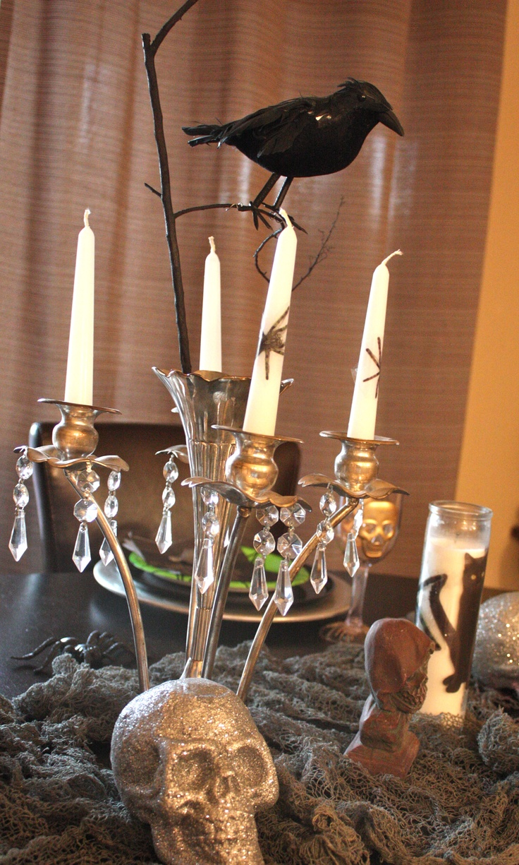 candelabra from goodwill used as a halloween centerpiece display thrift - Halloween Centerpieces Wedding