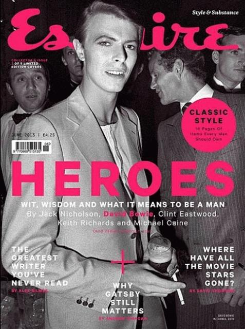 """Esquire UK Junio 2013 / HÉROES  """"Ingenio, sabiduría y qué significa ser un hombre""""  By Jack Nicholson, David Bowie, Clint Eastwood, Keith Richards y Michael Caine."""