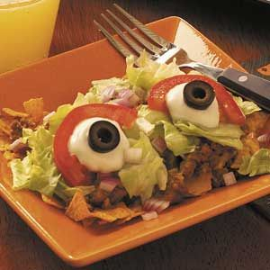 Eyeball Taco Salad Recipe from Taste of Home -- shared by Jolene Young of Queen Creek, Arizona: Eyeball Taco, Taco Salad Recipes, Halloween Dinner, Halloween Recipe, Food Ideas, Halloween Foods, Taco Salads, Halloween Party