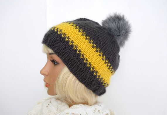 Striped Slouchy Beanie in Charcoal Grey and Yellow with by Pikeys, $30.00
