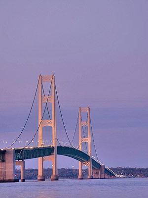 Mackinaw Bridge (connects lower Michigan to upper Peninsula)