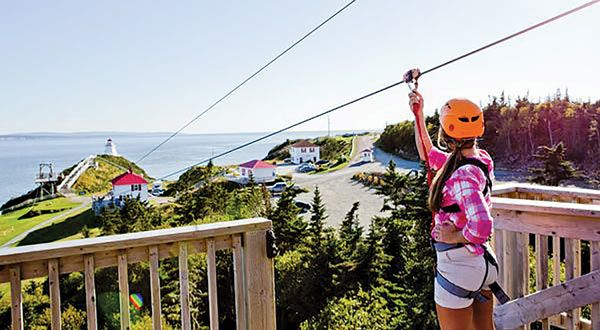 Zip along the magnificent Bay of Fundy and rappel down a 43-m (140-ft.) cliff towards the rocky ocean floor. What a rush!