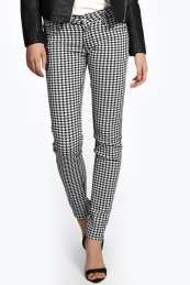 Hannah Dogtooth Checked Skinny Jeans