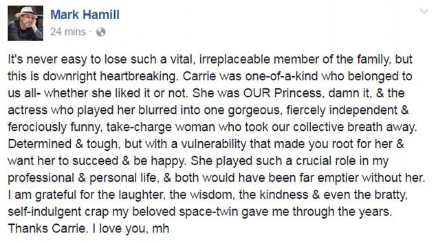 Mark Hamill, who played Luke Skywalker, shared a touching message on Facebook