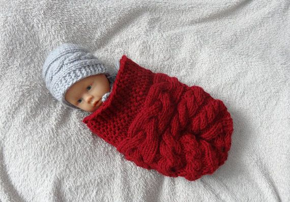 Baby cocoon, swaddle sack Handmade knit photography cocoon - swaddle sack newborn baby photo prop or baby shower gift infant cocoon COLORS