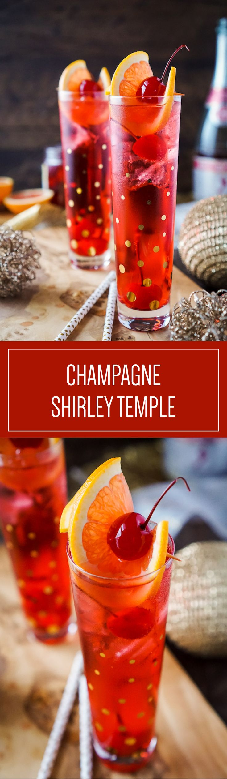 Champagne Shirley Temple is a childhood favorite with an adult twist. This nostalgic cocktail is sure to be a hit. #Ad