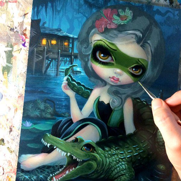 "Work-in-progress for ""Alligator Girl"" - painting I'm debuting at MegaCon (May 25-28 in Orlando) - details here - https://www.facebook.com/events/1365409170150471/?active_tab=discussion #strangeling #jasminebecketgriffith #megacon #megacon2017 #alligatorgirl #alligator #painting #fantasyart #popsurrealism #newcontemporary #newcontemporaryart #cosplay #lowbrowart #acrylic #wip #swamp #acrylics #bigeyes #bigeyeart #bigeyedart #art #artist #orlando #florida #southerngothic"